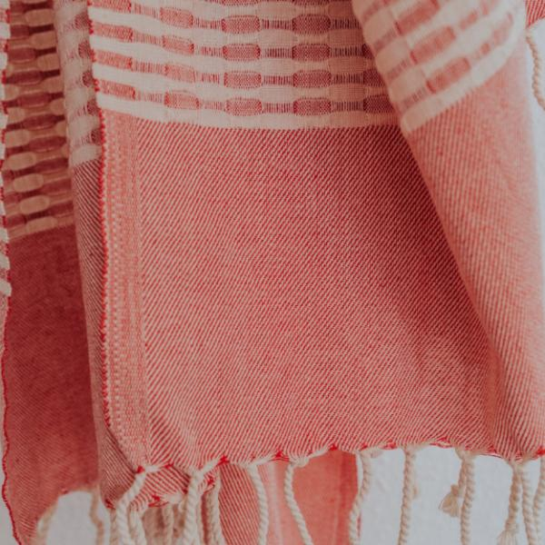 Close up of Bon Ton Studio Mila Turkish Towel in Poppy color
