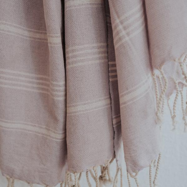Close up of Bon Ton Studio Thea Turkish Towel in Lilac color