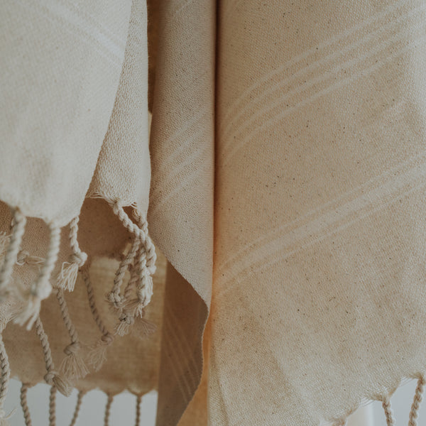 Close up of Bon Ton Studio Thea Turkish Towel in Natural color