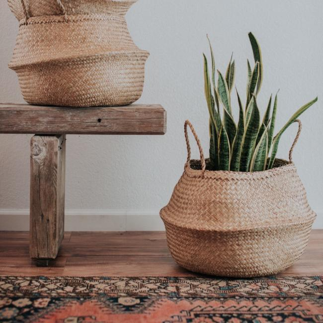 Handmade and carefully woven from natural material, these eco-friendly belly baskets look playfully cute and lend bountiful storage space around the home.