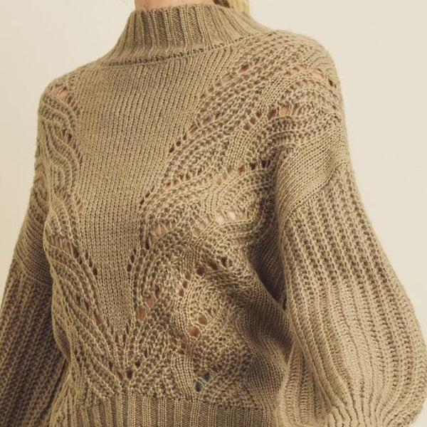 Women wearing mock neck olive sweater