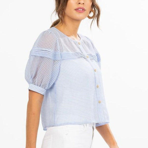 Plaid-Sheer-Puff-Sleeve-Blouse-Bon-Ton-Studio