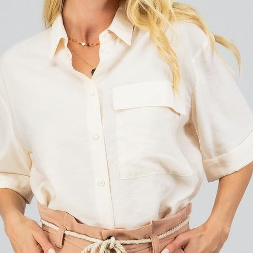 Loose-Work-Blouse-Pocket-Button-Up-Cream