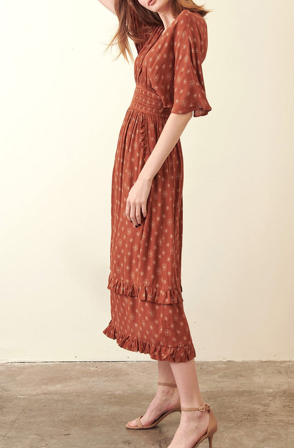 Ruffle-Wrap-Dress-Seasonal-Style-Casual-Vneck-Rust