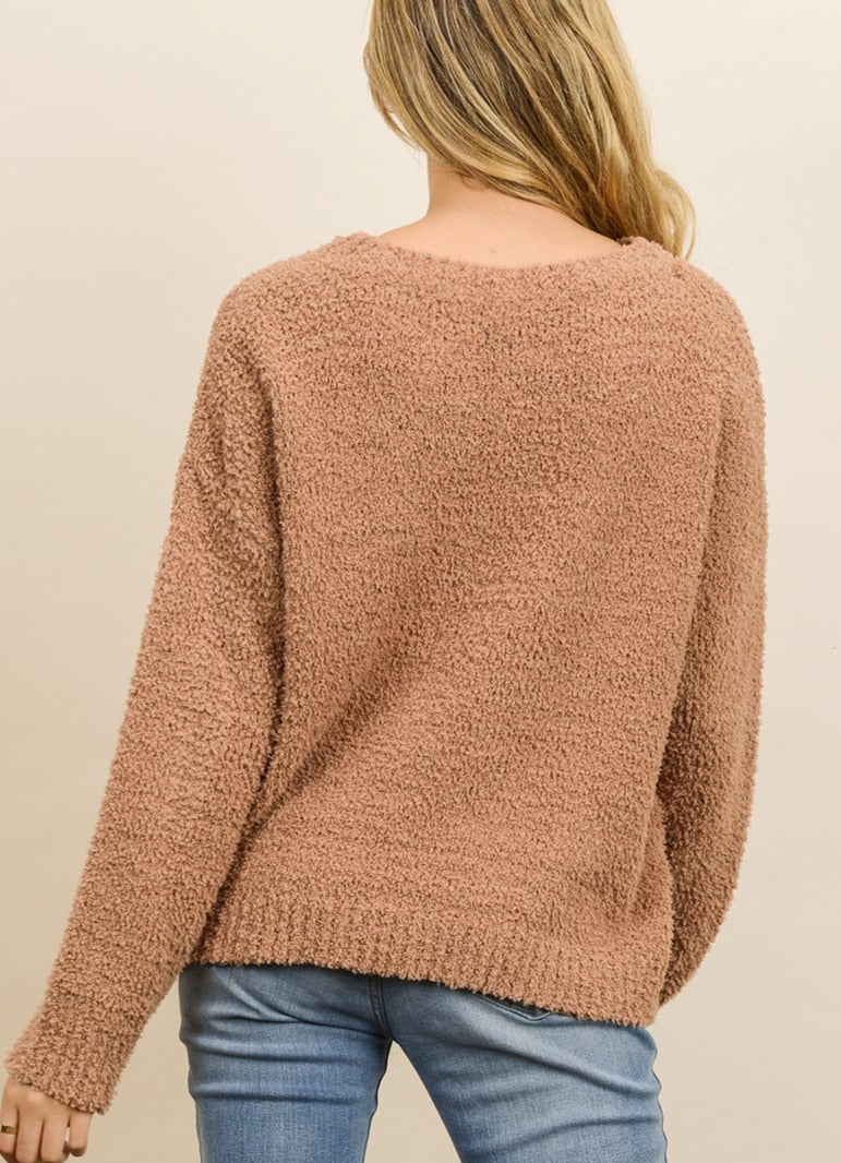 Women wearing soft cozy camel pullover