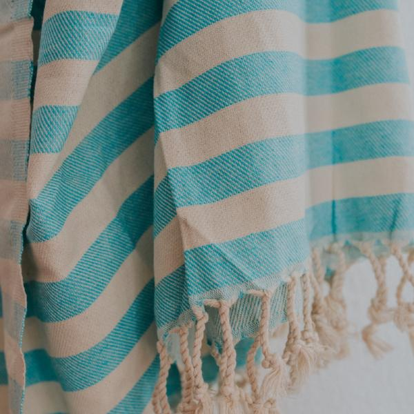 Close up of Bon Ton Studio Ulla Turkish Towel in Aqua color