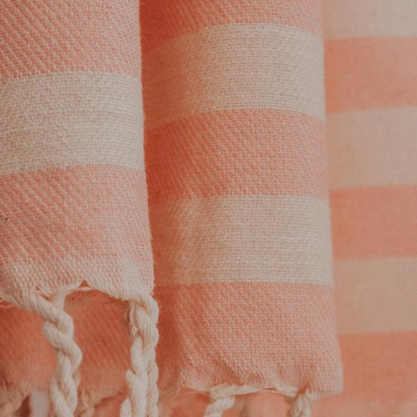 Close up of Bon Ton Studio Ulla Turkish Towel in Salmon color