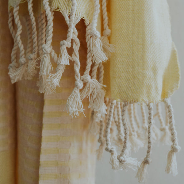 Close up of Bon Ton Studio Mila Turkish Towel in Yellow color