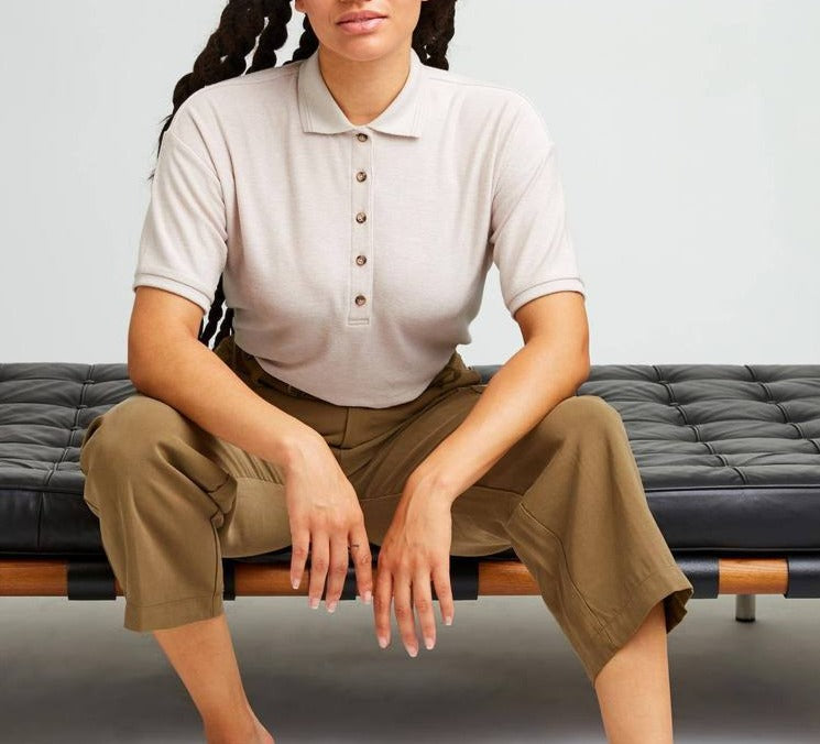 Women wearing cozy knit polo