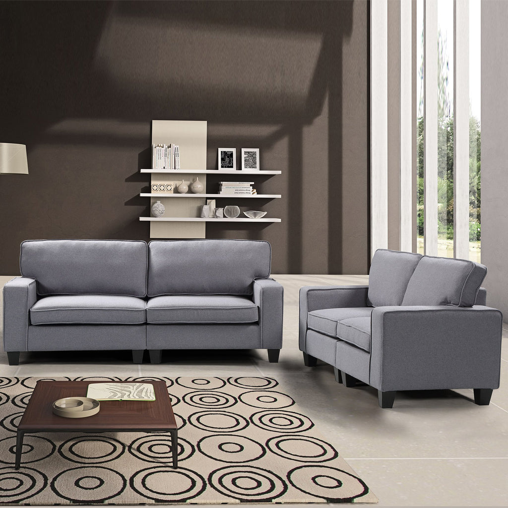 Living Room Sets Gray Harper & Bright 2 Piece Living Room Upholstered Sofa and Loveseat Set