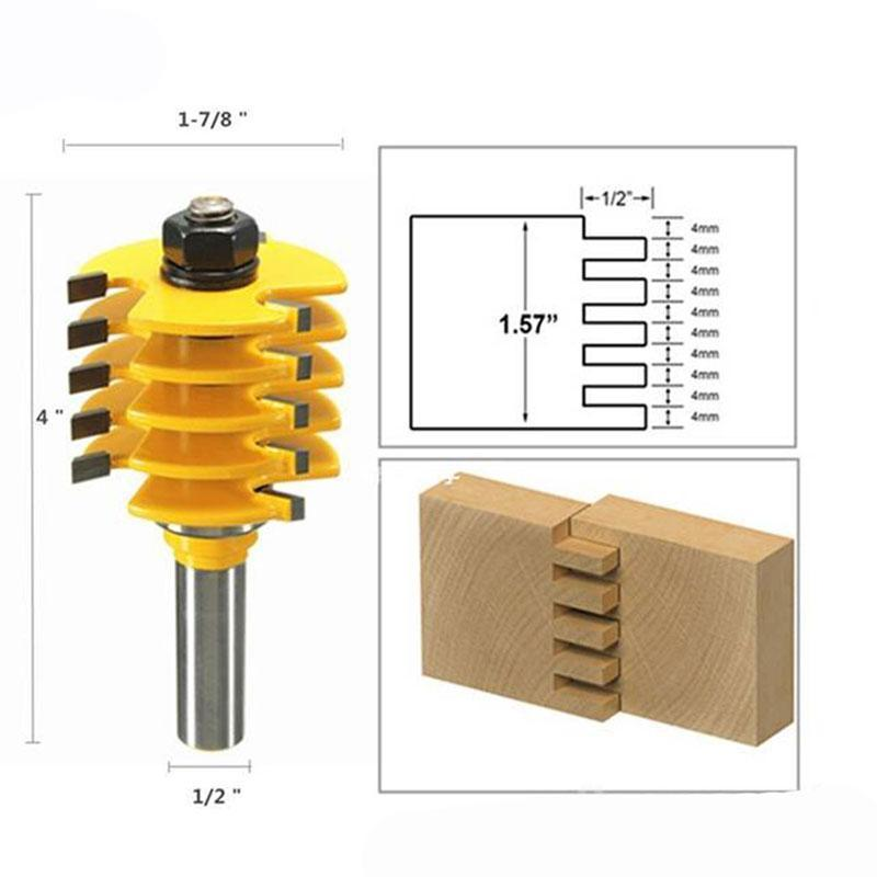 "1/2"" Shank Adjustable Box & Finger Joint Router Bit Woodwork Cutter Tools"