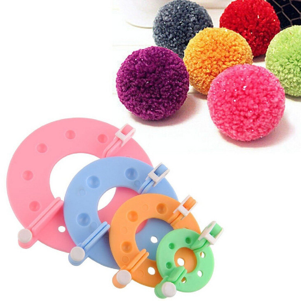 Pom Pom Maker  4 Varied Sizes Knitting Wool Tool Yarn Kit