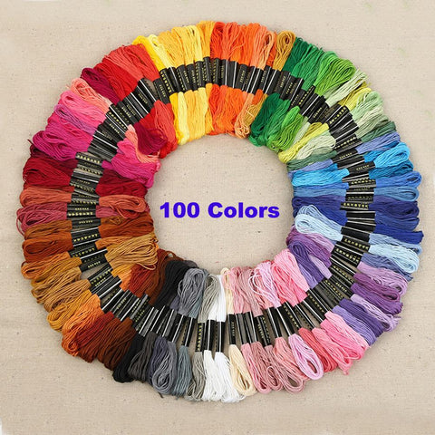 Embroidery Thread 100 Colors Cross Stitch Floss Sewing Skeins