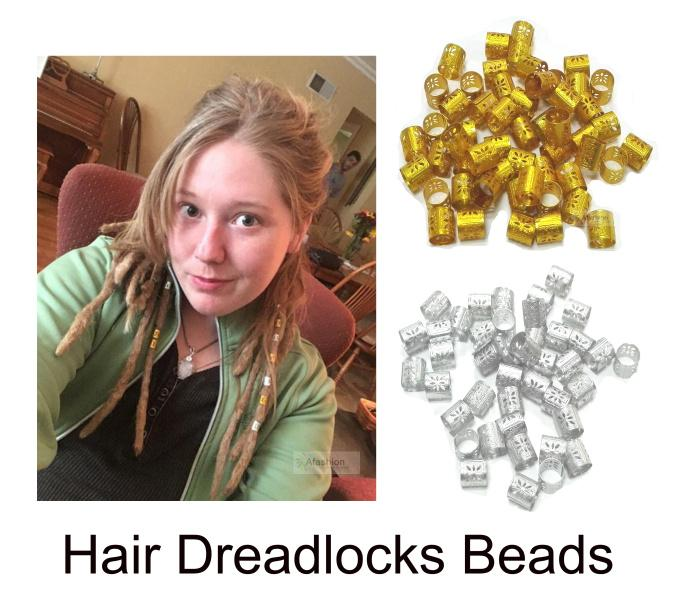 Sliver Dreadlocks Beads Hair Braid Cuffs 100pcs Golden Silver