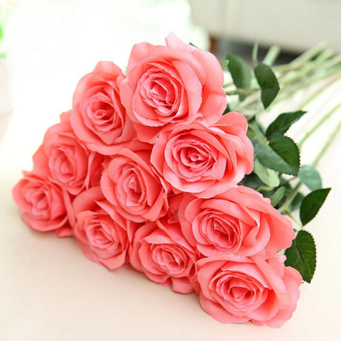 Large Artificial Flowers For Wedding  Roses Silk 10pcs