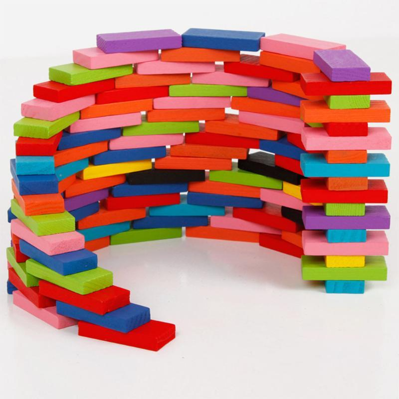 120   Wooden  Colorful Dominoes Bricks