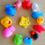 13 Pcs  Swimming Water Toys Colorful Soft Rubber Float