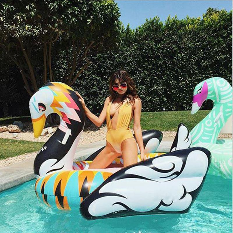 Giant Colorful Swan Inflatable Pool Float