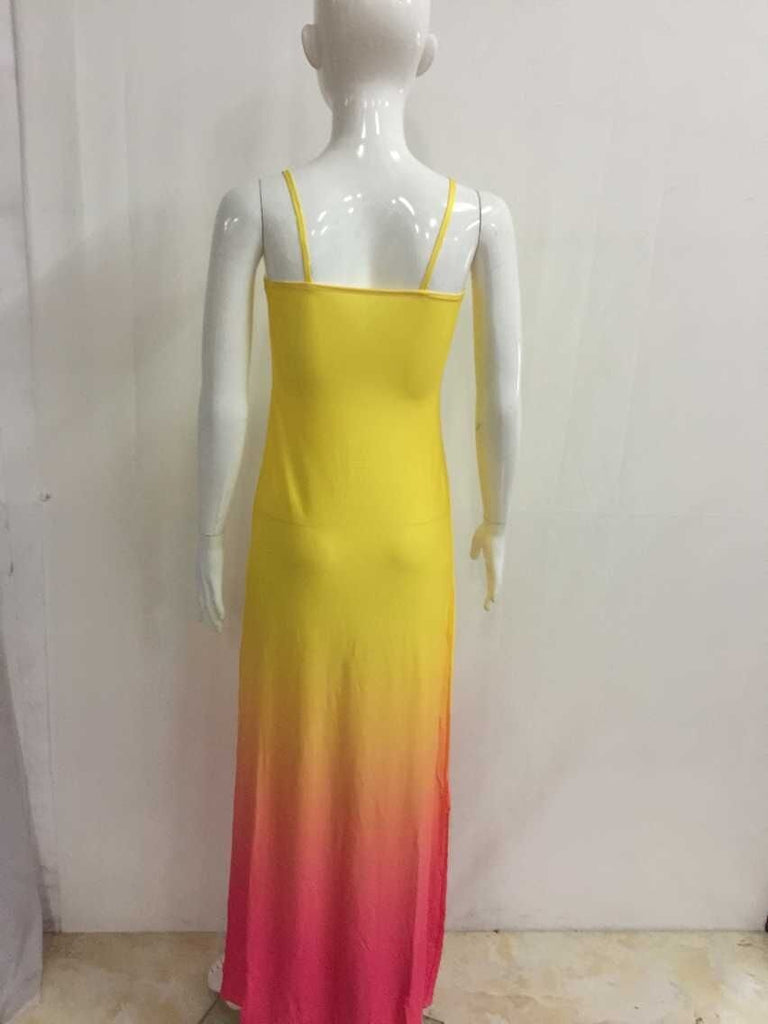 Dresses S Bright Gradient Yellow  Summer Beach  Dresses
