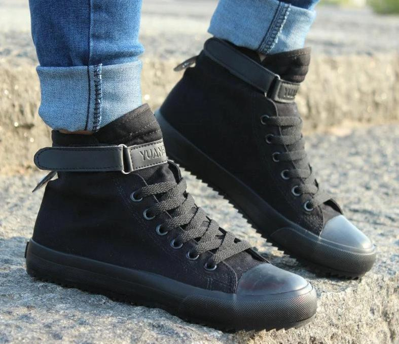 5520Black / 7 Casual Shoes Breathable Black High-top Lace-up Canvas Shoes