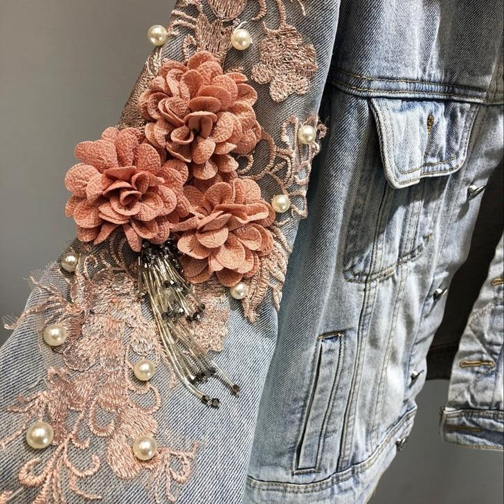 Basic Jackets light blue / S Ladies Embroidered  3D Flowers Pearl Beads