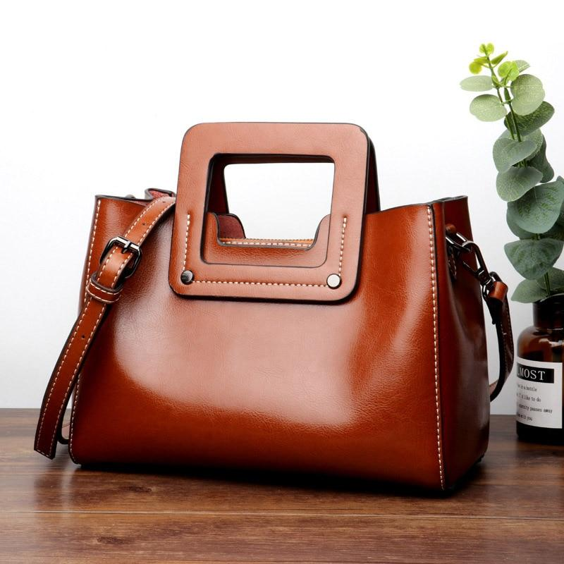 Top-Handle Bags Casual  Oil Wax Leather Ladies's Shoulder Bags black / 25X18X13CM