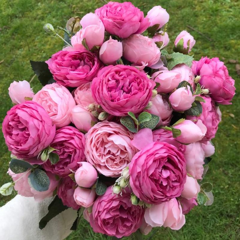 Artificial & Dried Flowers A49-1 Silk Rose Peony Artificial Flowers Home Decor