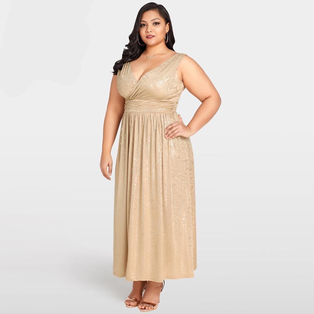 Plus Size Long Gold Floral Maxi Dress – Inspirational Clothing and ...