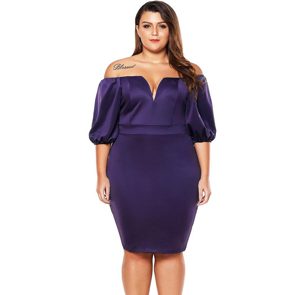 Plus Size Dress Off Shoulder Puff Sleeve Party Dresses