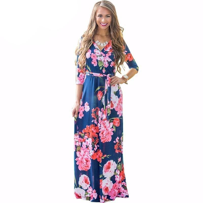 Deep V Neck Beach Casual Tunic Floral Printed Maxi Dress