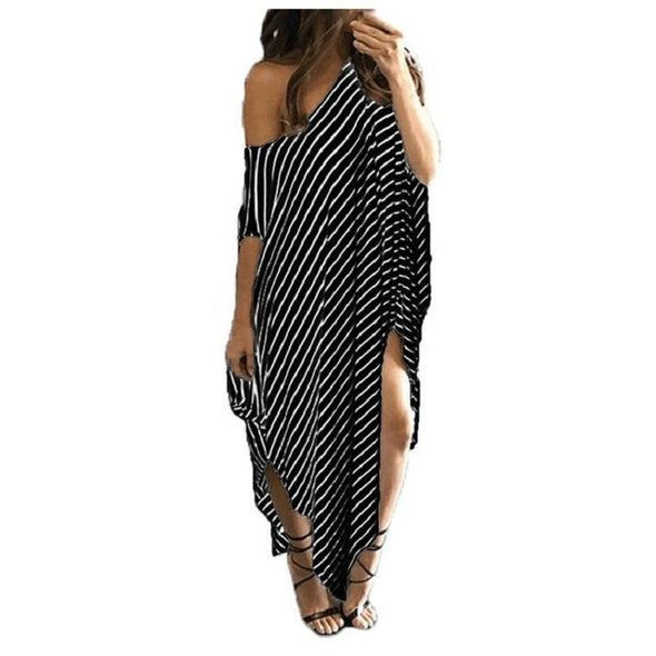 Dresses Irregular Striped  Off Shoulder  Beach Dress