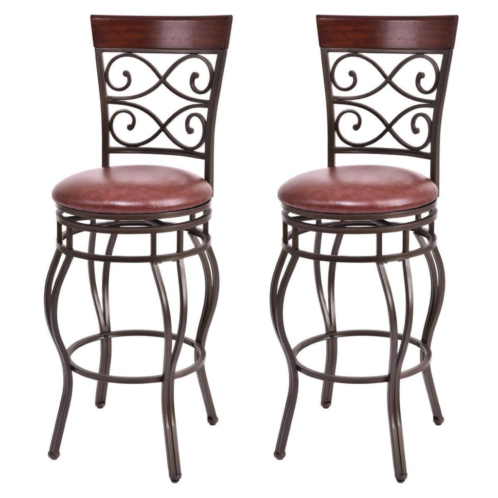 Costway Set of 2 Vintage Bar Stools Swivel Padded Seat
