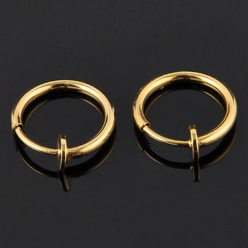 Clip Earrings Gold Invisible No Ear Hole Earrings Clip Nose Ring 2pcs
