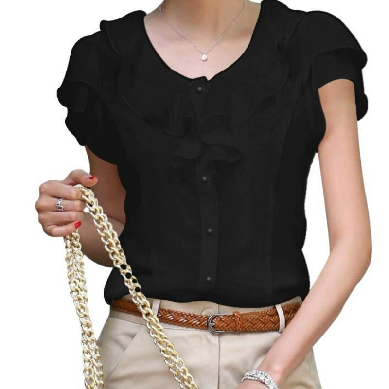 Blouses & Shirts Short Sleeve Chiffon Ruffle Blouse Black / S