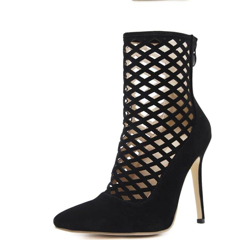 Ankle Boots Black / 4 Gladiator High Heels Sexy Cut Out Stilettos