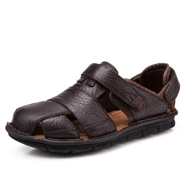 Black / 5.5 Men Leather Slip on Summer Sandals Casual Shoes