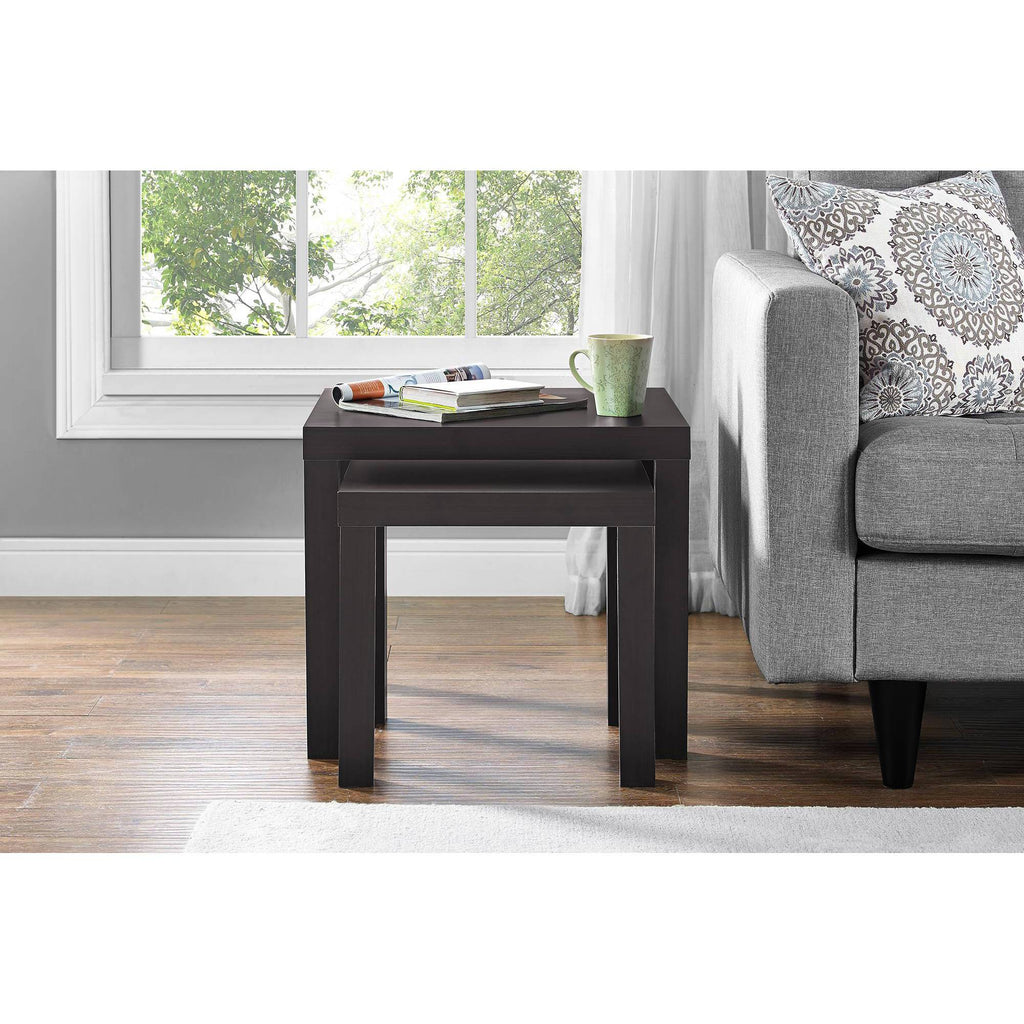 Wood End Tables Actual Color Black oak Nesting Tables 2-Piece Mainstays Wooden Living room Furniture