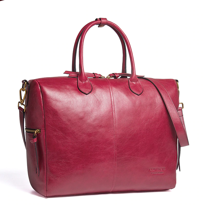 Top-Handle Bags Real Leather Bucket Large Tote  Roomy Bags Fushia
