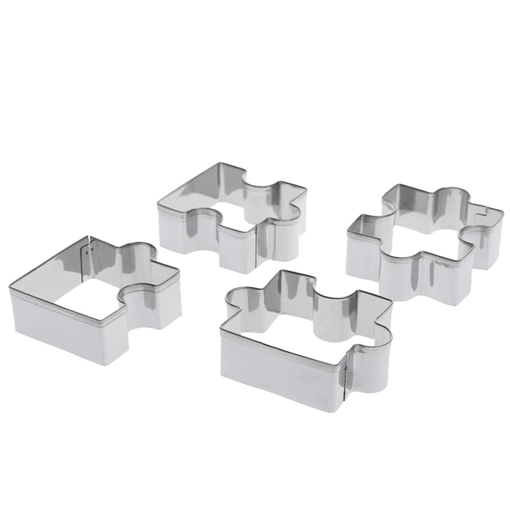 Stainless Steel Puzzle Cookie Cutter 4pcs DIY Biscuit Dessert Mold