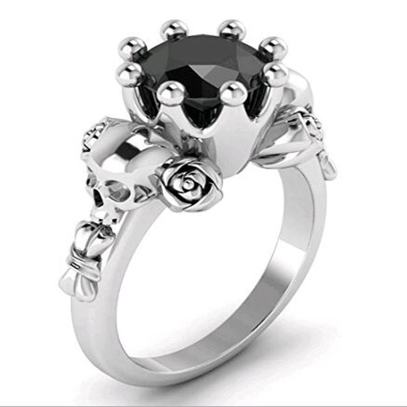 Wedding Bands 6 / silver Black Crystal  Silver Plated Rings
