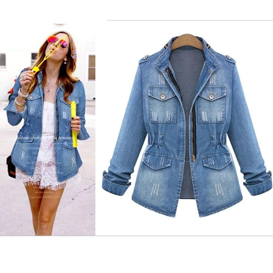 Basic Jackets Blue / S No Button Denim Jackets Women Jeans Jacket