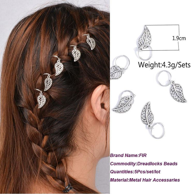Silver leaf Hair Braid Dreadlocks Bead  5Pcs per Set  Per Pack