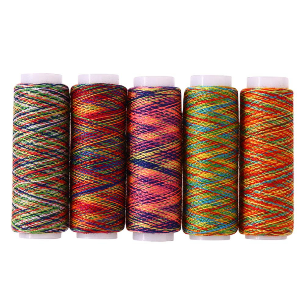 Sewing Thread 5pcs Rainbow Embroidery
