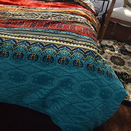 Boho Style Bedding Set Queen Duvet Cover Set Bohemian Bedding Set 3 Pcs