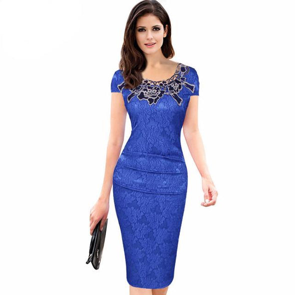 Floral Embroidered Knee-length Pencil Sheath Evening Dress