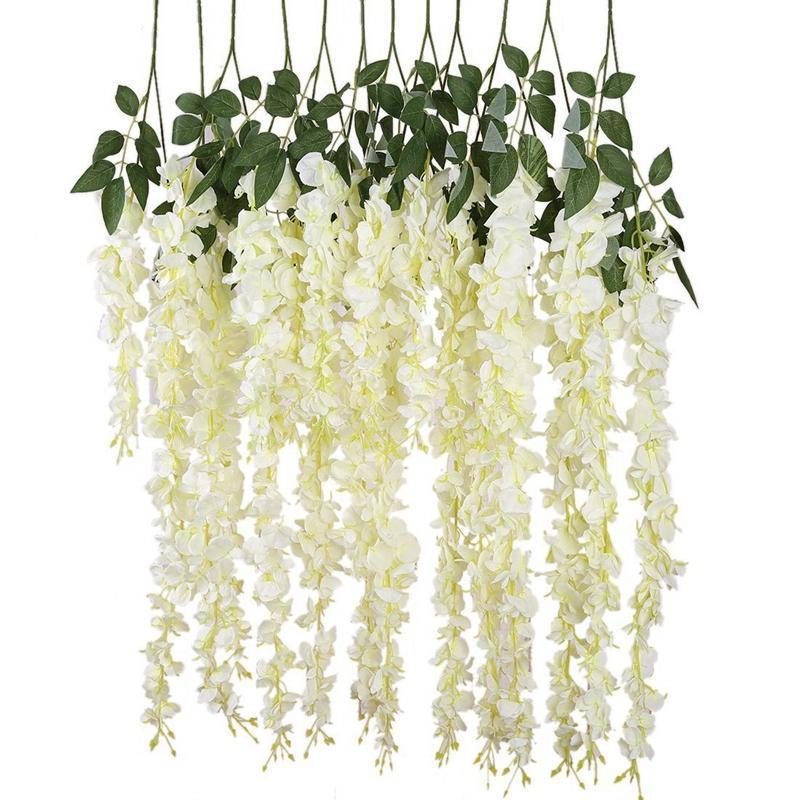 Hanging Garland Silk Flowers Chandelier Decoration 6 Pieces