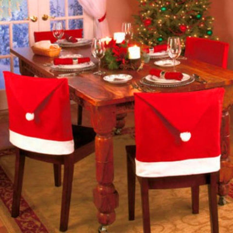 Christmas Chair Covers Santa Claus Red Hat for Dinner