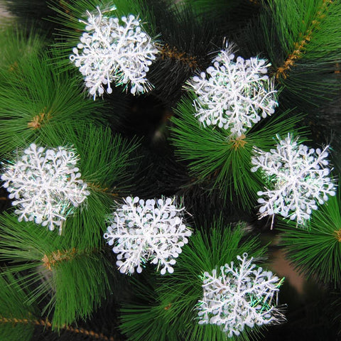 Plastic Snowflake Shape Hanging Ornament For Christmas Tree