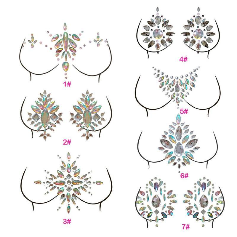 Adhesive Sticky Body  Jewelry  Glitter Breast Stickers
