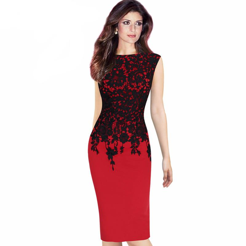 Elegant Vintage Floral Crochet Casual Work Office Party Evening Pencil Dress b6e7fe8a5